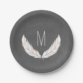 Chalkboard Inspired Feathers Monogram 7 Inch Paper Plate