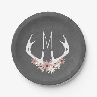 Chalkboard Inspired Floral Antlers Monogram Paper Plate