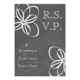 Chalkboard Inspired Floral Modern Wedding RSVP Announcement