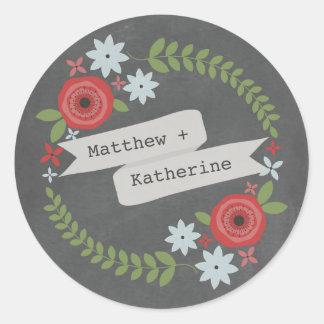 Chalkboard Inspired Floral Wreath & Banner Classic Round Sticker