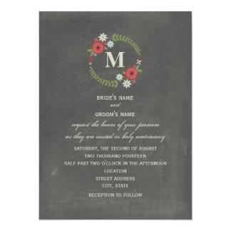 Chalkboard Inspired Floral Wreath Monogram Wedding Card