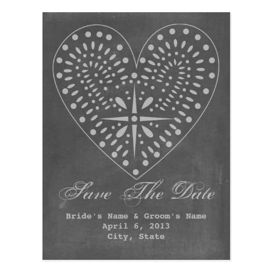 Chalkboard Inspired Heart Wedding Save The Date Postcard