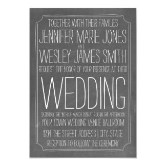 Chalkboard Inspired Large Print Wedding Card