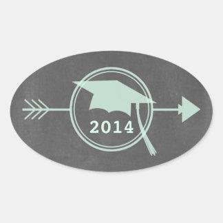 Chalkboard Inspired Mint Arrow 2014 Graduation Sticker