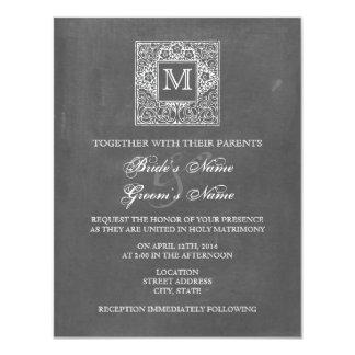 Chalkboard Inspired Monogram Wedding Invite