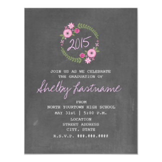 Chalkboard Inspired Pink Floral Photo Graduation 4.25x5.5 Paper Invitation Card