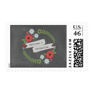 Chalkboard Inspired Red Blue Wreath Banner Postage Stamps