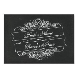 Chalkboard Inspired Rose Banner Wedding RSVP Card