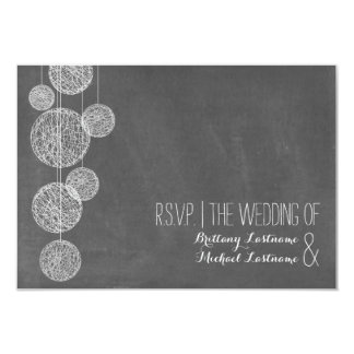 Chalkboard Inspired Twine Globes Wedding R.S.V.P. 3.5x5 Paper Invitation Card