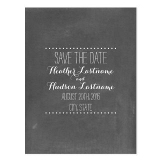 Chalkboard Inspired Wedding Save The Date Postcard