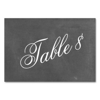Chalkboard Inspired Wedding Table Number Card