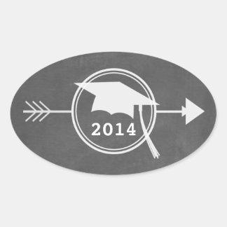Chalkboard Inspired White Arrow 2014 Graduation Oval Stickers