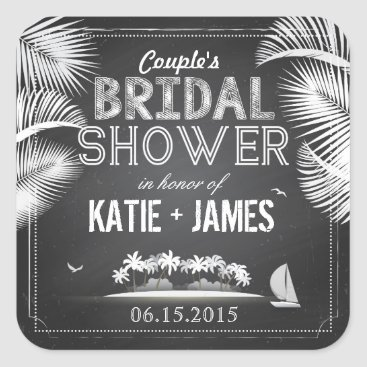 Beach Themed Chalkboard Island Destination Bridal Shower Label