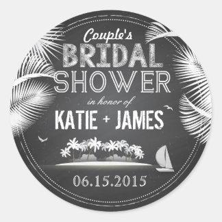 Chalkboard Island Destination Bridal Shower Label Classic Round Sticker
