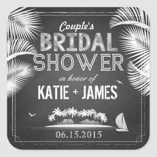 Chalkboard Island Destination Bridal Shower Label Square Sticker