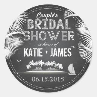 Chalkboard Island Destination Bridal Shower Label Round Sticker