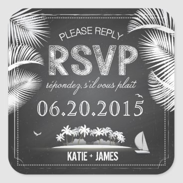 Beach Themed Chalkboard Island Destination RSVP Wedding Label