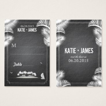 Beach Themed Chalkboard Island Destination Wedding Place Cards
