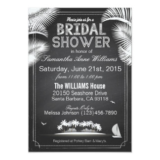 Chalkboard Island Resort Bridal Shower Card