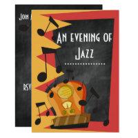 Chalkboard Jazz Blues Theme Party Invitation