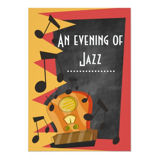 Chalkboard jazz blues theme party invitations zazzle chalkboard jazz blues theme party invitations stopboris Image collections