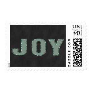 Chalkboard Joy Holiday Greeting | Green Glitter Postage
