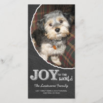 Chalkboard Joy to the World Photo Frame Holiday Card