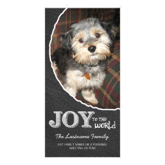 Chalkboard Joy to the World Photo Frame Photo Card Template