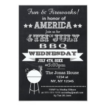 Chalkboard July 4th BBQ Holiday party Invitation