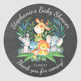 Chalkboard Jungle Animal Baby Shower Favor Sticker