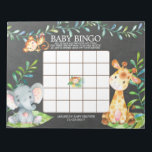 """Chalkboard Jungle Baby Shower Bingo Game Notepad<br><div class=""""desc"""">Cute baby shower bingo game safari jungle animals featuring an elephant,  monkey &amp; giraffe with an assortment of jungle leaves set on a Chalkboard background for a gender neutral baby shower.  Visit our shop to view our entire jungle safari baby shower collection!</div>"""