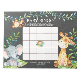 Chalkboard Jungle Baby Shower Bingo Game Notepad