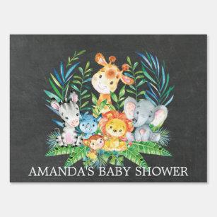 chalkboard jungle safari baby shower yard sign