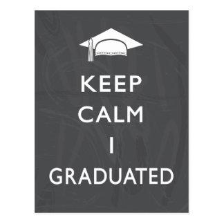 Chalkboard Keep Calm Graduation Thank You Postcard