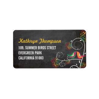 Chalkboard Kissing Summer Birds Wedding Labels