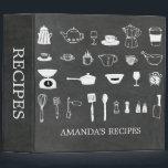 "Chalkboard Kitchen Bridal Shower Recipe Binder<br><div class=""desc"">Chalkboard bridal shower recipe book featuring a black chalkboard background with white sketched kitchen tools.</div>"
