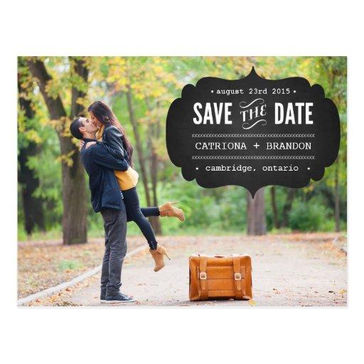 Chalkboard Label Photo Save the Date Postcard