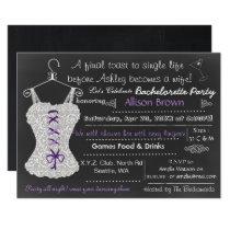 Chalkboard Lace Lingerie Shower Bachelorette Card