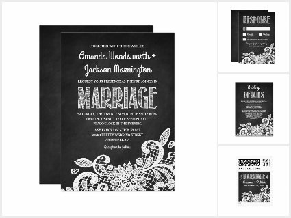 Chalkboard + Lace Rustic Wedding Invitations Set