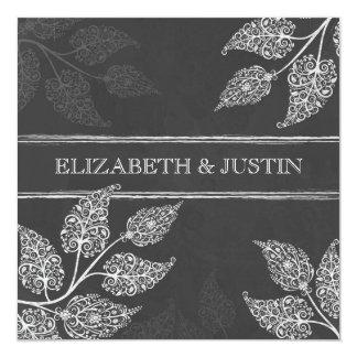 "Chalkboard Lacy Leaves Wedding Invitation 5.25"" Square Invitation Card"