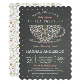 Chalkboard Lacy Teacup Baby Shower Invitation