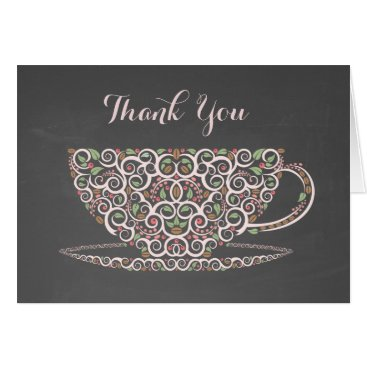 Coffee Themed Chalkboard Lacy Teacup Tea Thank You Note Card