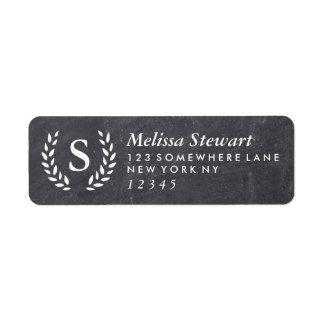 Chalkboard Laurel Wreath Monogram Return Address Label