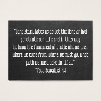 Chalkboard Lent Meaning Pope Benedict XVI Easter Business Card