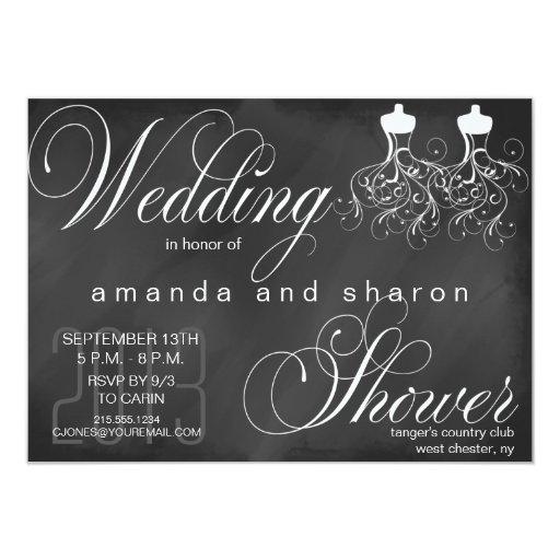 Chalkboard lesbian wedding shower invitation zazzle for Gay wedding shower invitations