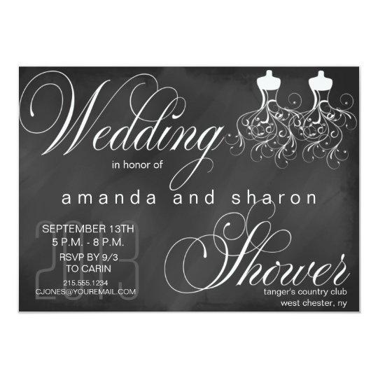 chalkboard lesbian wedding shower invitation