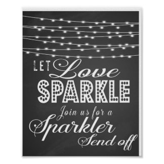 Chalkboard Let love sparkle wedding print
