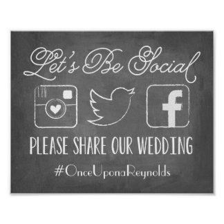 Chalkboard Let's Be Social | Wedding Hashtag Sign