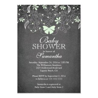 Chalkboard Light Green Butterfly Girl Baby Shower 5x7 Paper Invitation Card