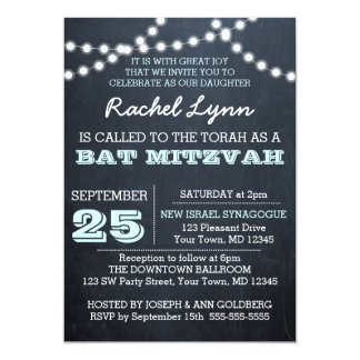 Chalkboard Lights Aqua Bat Mitzvah Invitation